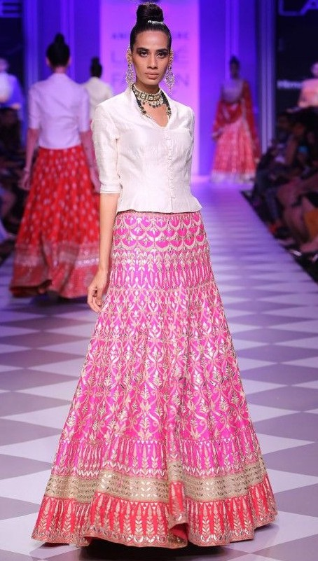 Peplum shirt with lehnga