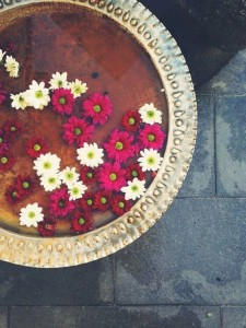 Water Bowl with flowers for diwali