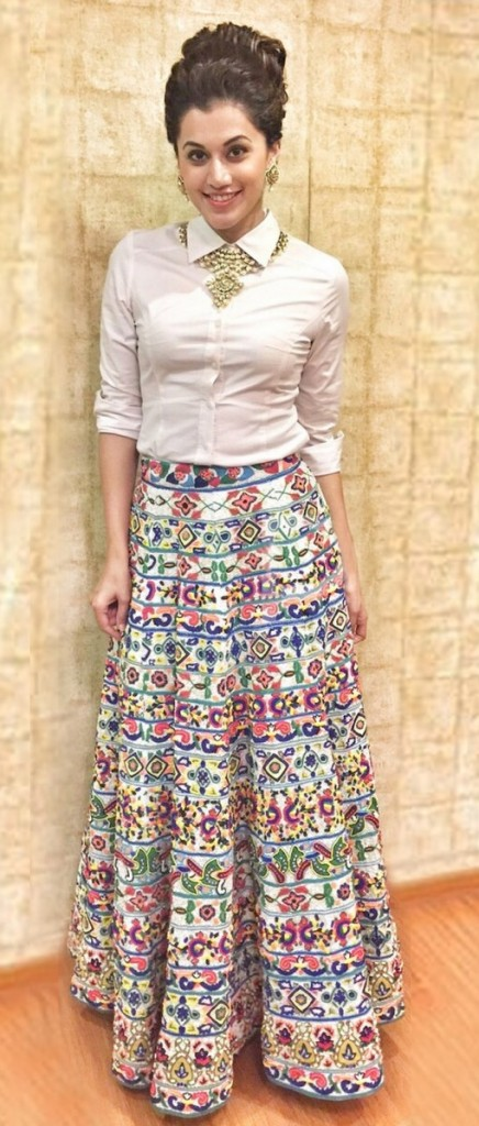 White shirt with multicolor lehnga