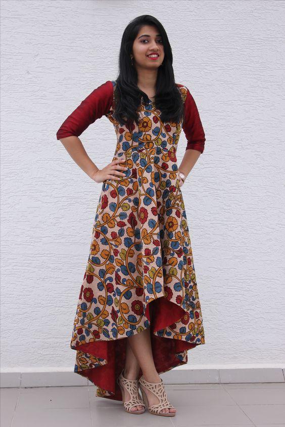 Kalamkari assymetric dress