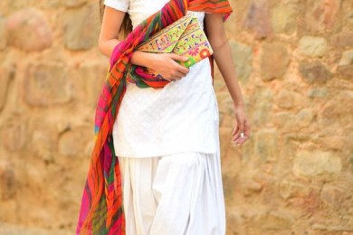 White Patiala kurta salwar for holi