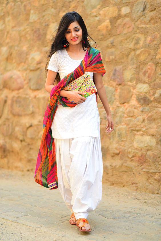 White Patiala kurta salwar for holi