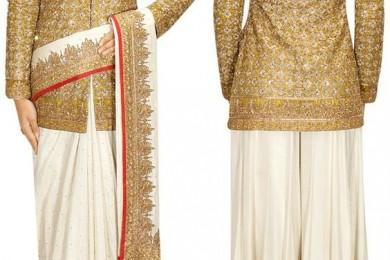 Achkan jacket with saree