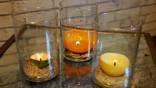 Citrus fruit peel candles