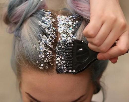 Glitter hair trend