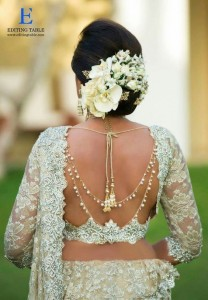 Jewelled saree blouse back neck