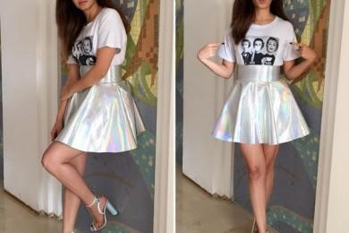 Kriti Kharbanda in Holographic skirt