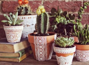 Lace planter pots