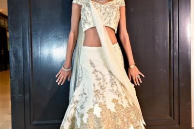 Layered white bridal lehnga