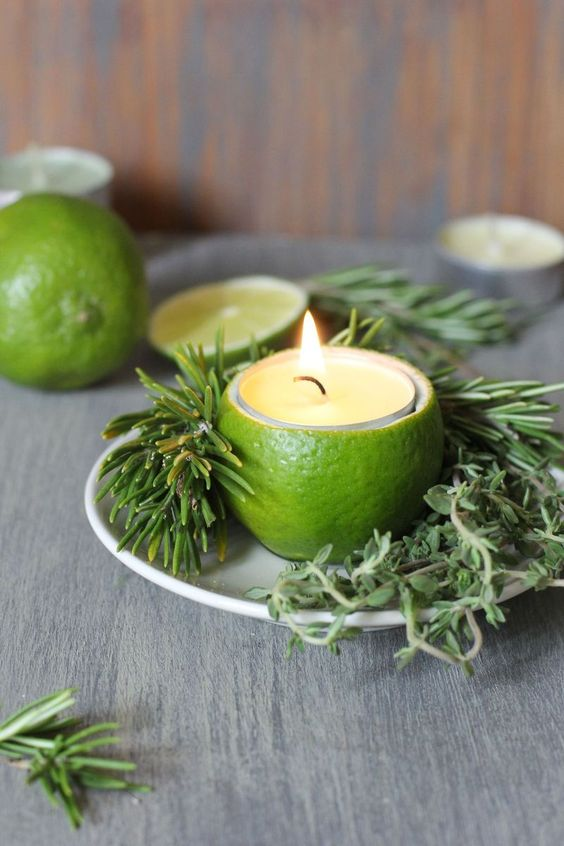Lime peel as a candle holder