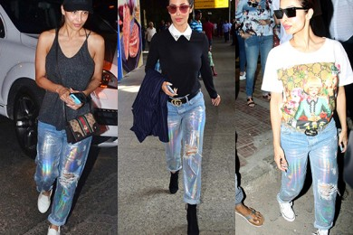 Malaika Arora in holographic denim