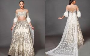 Modern white bridal lehnga