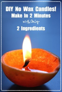 Natural candle from orange peel