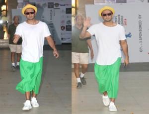 Ranveer Singh in a green skirt on women's day