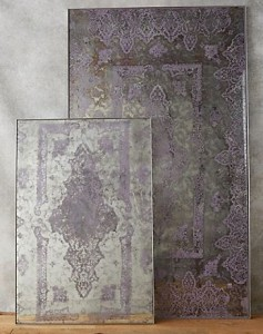 Textured mirror with lace