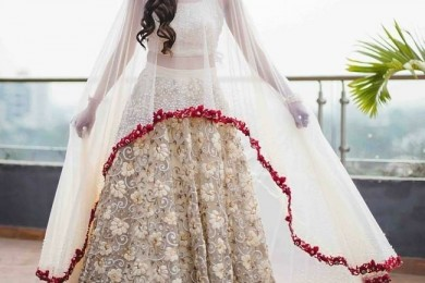 White bridal lehnga with cape