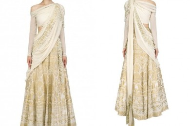 White draped bridal lehnga