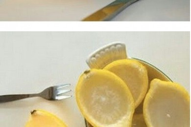 natural candle in lemon peel