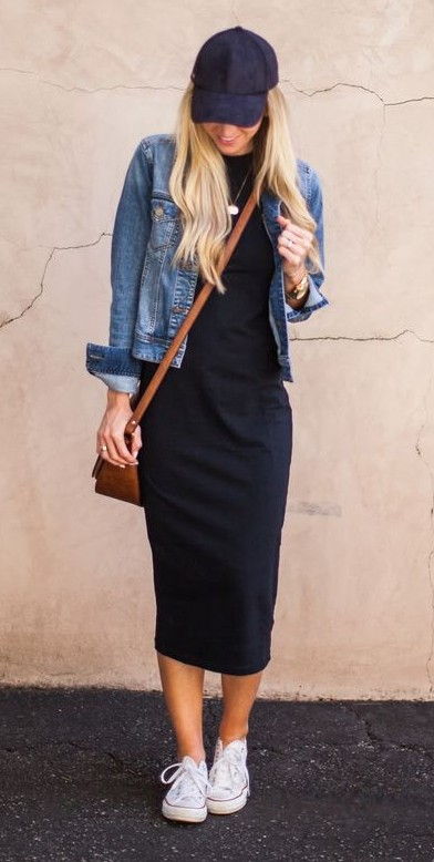 T shirt dress with denim jacket