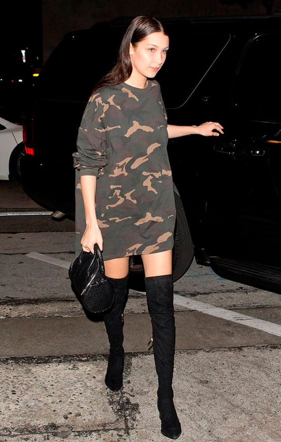 T shirt dress with long boots