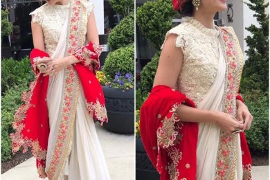Taapsee Pannu in pant style saree