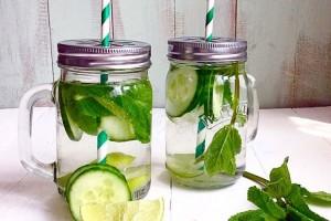 Cucumber, lemon and mint detox water