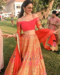Off shoulder blouse and lehnga