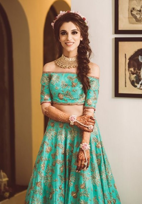 Off shoulder lehnga