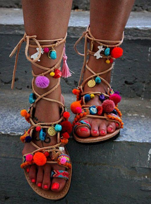 Pom pom lace footwear