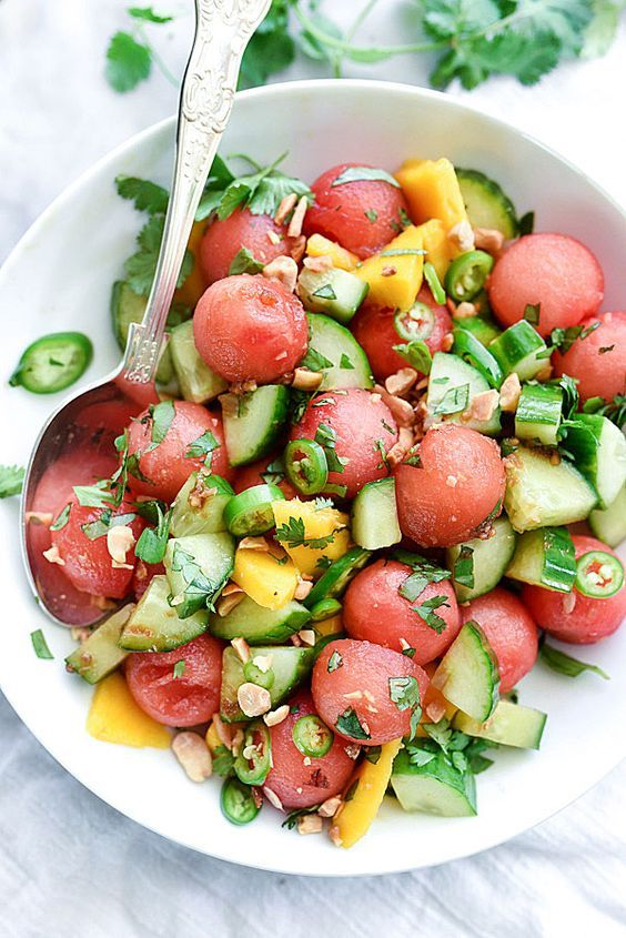 Cucumber watermelon mango salad