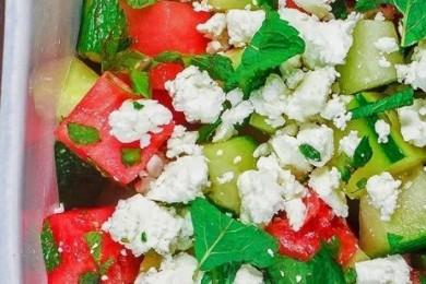 Watermelon cucumber and mint salad