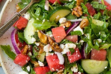 Watermelon spinach cucumber salad