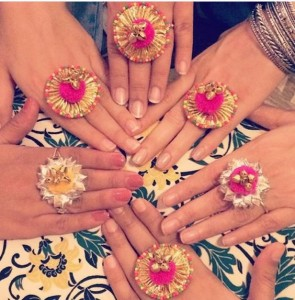 Mehndi favors gota rings