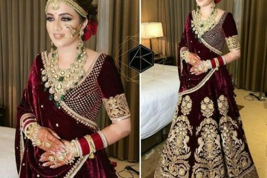 Burgandy lehnga, Unusual bridal lehngas-Threads-WeRIndia