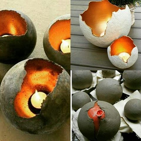 Cement art, Tea light holders