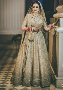 Gold lehnga, unusual bridal lehnga