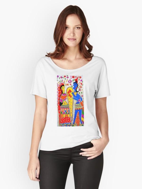 Handpainted Madhubani print T-shirt