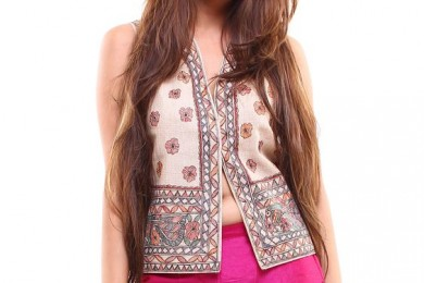 Handpainted Madhubani print waistcoat