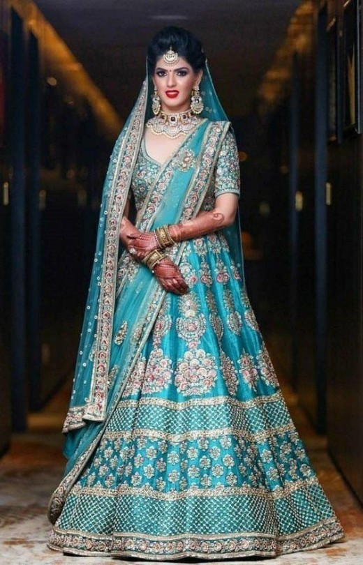 Light Blue lehnga, Unusual bridal lehngas