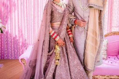 Lilac Bridal lehnga, unusual bridal lehngas
