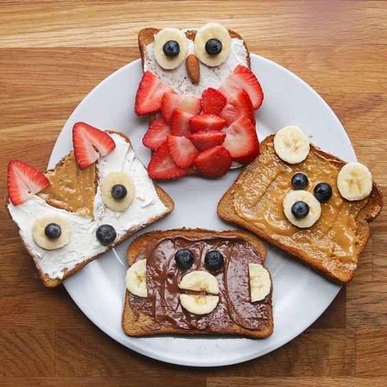 Open fruit sandwich for kids