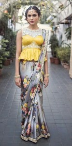 Peplum blouse style for saree