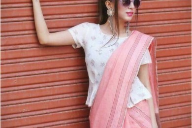 Create A Fusion Look With Peplum Saree Blouse