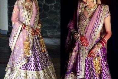 Purple lehnga, Unusual bridal lehnga-Threads-WeRIndia