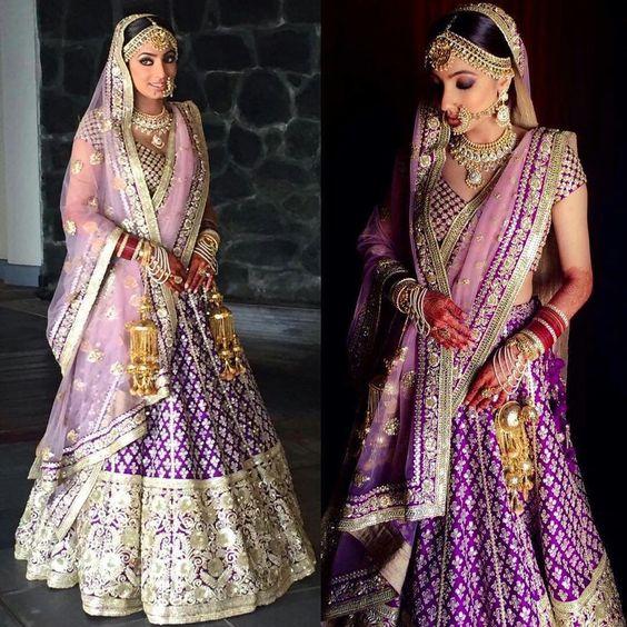 Purple lehnga, Unusual bridal lehnga