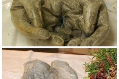 Concrete hand planters