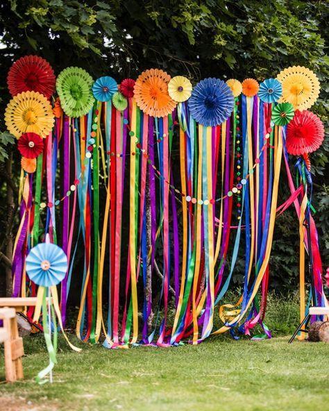 DIY Indian Wedding decor with ribbons and pinwheel
