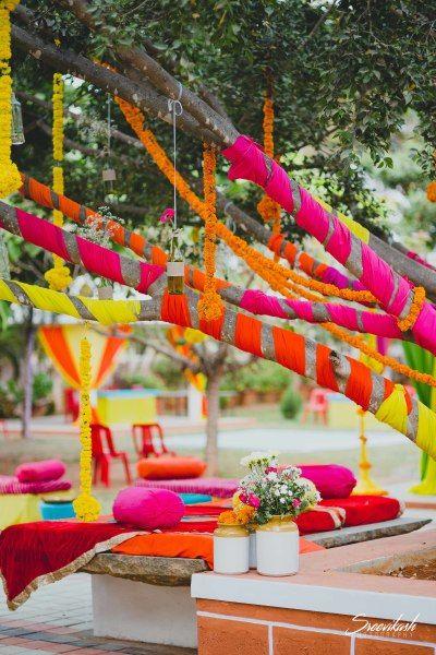DIY Indian Wedding decor with tree decoration