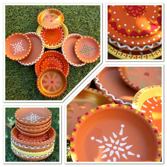 Decorate plain diya at home