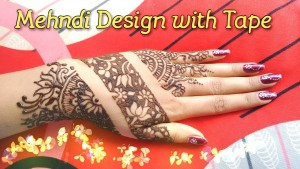 Mehndi design with tape for karvachauth